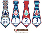 FREE Baby Monthly Bodysuit Sticker Monthly Baby Tie Stickers Baby Boy Month Milestone Stickers Shower Gift Red Blue Chevron Nautical 017T
