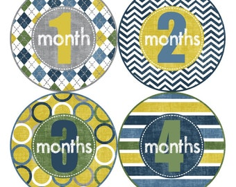 1st Year Baby Month Stickers, PLUS Just Born, Baby Boy Milestone Stickers, Bodysuit Monthly Stickers, Chevron White Blue Grey Yellow 015B