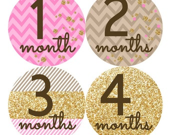 Baby Monthly Stickers  FREE Baby Month Milestone Sticker Baby Girl Bodysuit Stickers Baby Month Stickers Photo Prop Pink Gold Effect 051G