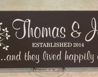 Wedding Gift, Personalized Family Name Sign Plaque Established Date Painted Chocolate Brown 7x22, Saying - And They Lived Happily Ever After
