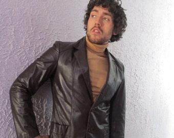 Vintage Men's Leather Blazer Jacket slim cut 38