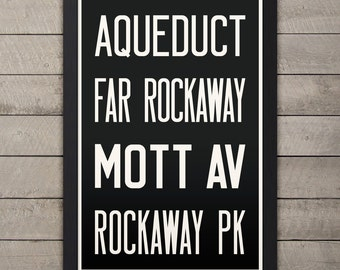 QUEENS (AQUEDUCT / ROCKAWAY) New York City Subway Sign. Bus Scroll. 12 x 18 Rollsign Print