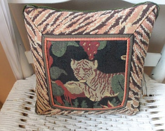 Pillow - Vintage Tapestry, Tapisserie, Renaissance Woven Arts, CSI Creations de France, Made in USA, Home Decor, Collectible, Gift Idea