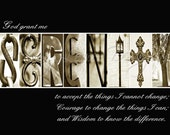 Alphabet Photography - SERENITY PRAYER (various sizes)