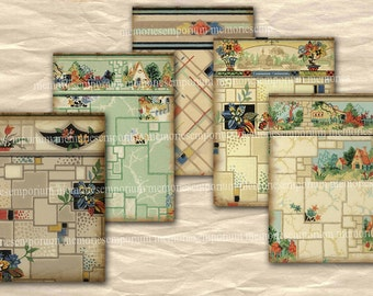 Art Deco Scrapbooking Patterns Old Vintage Wallpaper Deco Shabby Chic Papers Designs ACEO ATC Size Digital Collage Sheet wp 445
