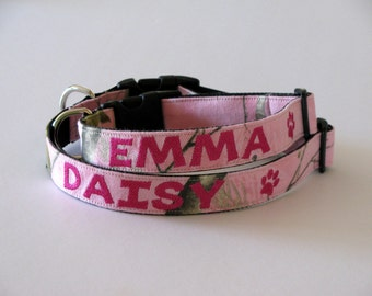 Personalized Camo Dog Collar, Realtree Pink Camouflage Adjustable Dog Collar -  Embroidered
