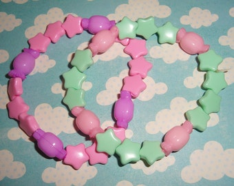 Fairy Kei Stars & Candies Beaded Bracelet