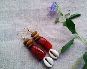 FIFA African big carnelian stones wood cowrie shell earrings by Fianaturals