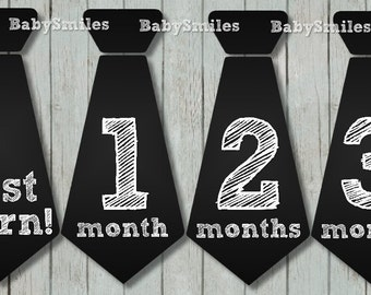 FREE GIFT Monthly Tie Stickers Boy Month Stickers Monthly Baby Stickers Monthly Milestone Stickers Baby Month Baby Stickers Bodysuit Sticker