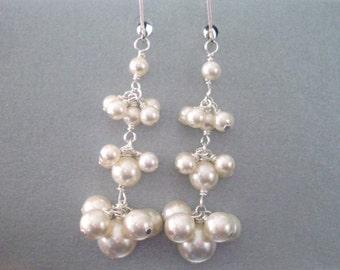 Ivory pearl cluster earrings, long pearl dangle tiered cluster bridal earrings, Sterling Silver leverback hooks, ivory pearl jewelry