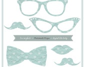 Photobooth Props - Light Blue Hearts - Digital File Only