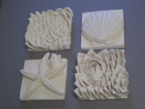 Pacific Biodiversity Wall Sculpture, coral reef art tile set, Ceramic wall hanging, ocean art, beach art, star fish, coral and sea shells