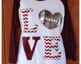 Love Football Bling 3/4 Raglan Shirt