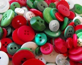 Christmas Buttons, 100 Bulk Assorted Round Multi Size Crafting Sewing Buttons