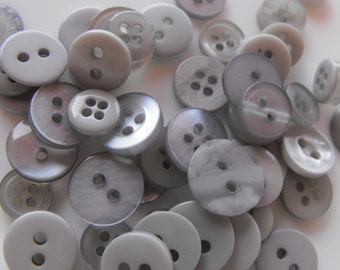 Gray Buttons, 50 Small Assorted Round Sewing Crafting Bulk Buttons