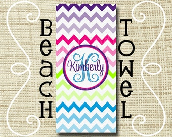 Monogram Beach Towel - Personalized Beach Towel - Ultra Soft Poly/Cotton - Chevron