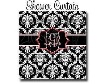 "Custom Personalized Monogram Shower Curtain - You Choose Size , 70"" x 70"", 70"" x 90"", or ANY size Damask Black, White, & Red"