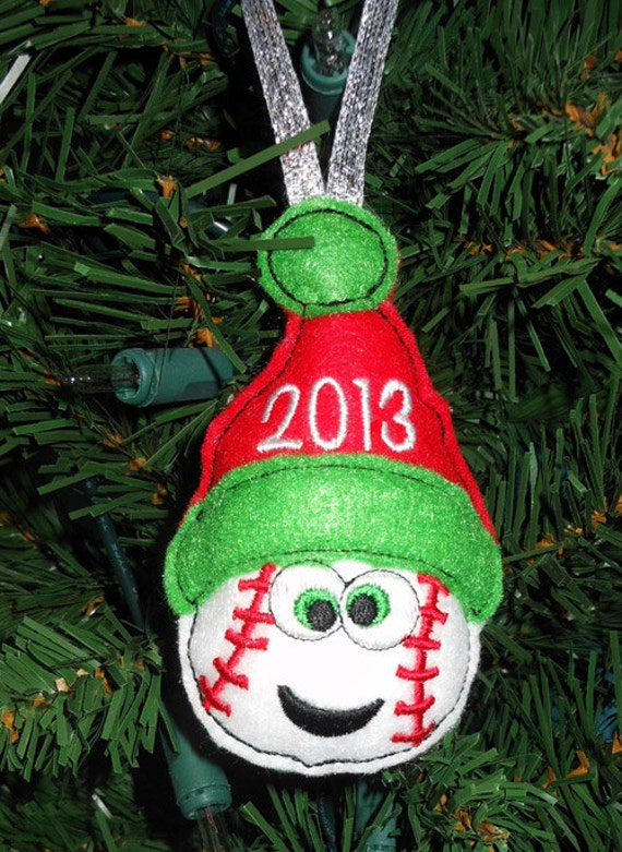 items similar to in the hoop christmas baseball ornament
