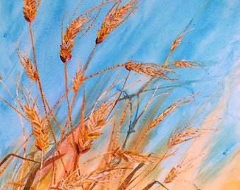 Give Us This Day  Original Mixed Media Collage Wheat on Gallery Wrapped Canvas