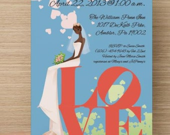 African American Bridal Shower Invitation (Deposit Listing)