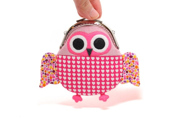Cute hearty red owl clutch purse