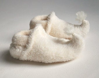 Baby Elf Slippers - Ivory - Winter fairy slippers for babies and toddlers