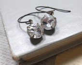 Vintage Clear Rhinestone Earrings, Dangle Rhinestone Earrings, Womens Jewelry
