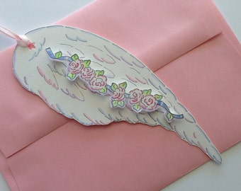 Die Cut Angel Wing Adorned with a Rose Garland, Hand Painted, Greeting Card, Invitation, Gift Tag, Ornament, illustration, Pen and Ink