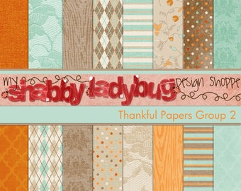 """Thankful Digital Textured Paper Collection Group 2: 16 Individual 12x12"""" 300 dpi digital scrapbook papers"""
