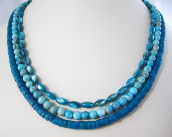Deep Teal Coco Heshi for Interchangeable Multi Strand Necklace/Peacock teal/multi wear