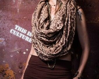 SALE  Leopard soft scarf tube hippie boho fashion pirate steam punk festival.Before 80 dollar.NOW 50 dollar
