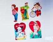 set of 5 vintage 1950s die cut valentines