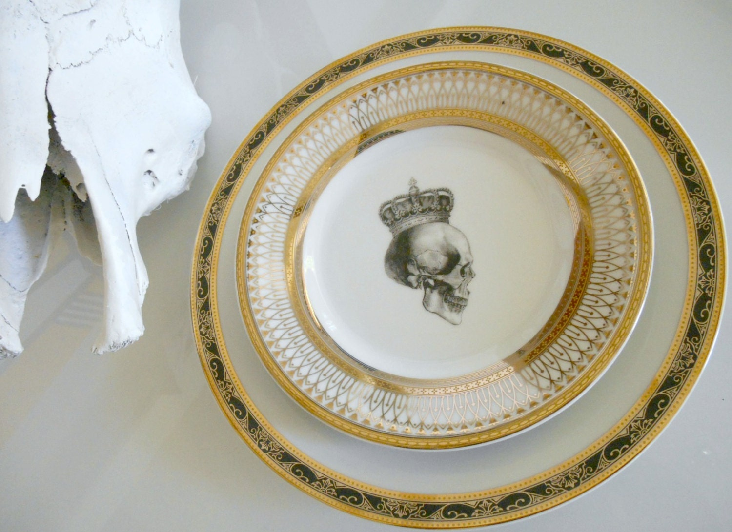 Custom Order for Mary - Four Black and Gold Dinner Skull Dinner Plates and 4 Fancy Gold Skull Salad Plates & Custom Order for Mary - Four Black and Gold Dinner Skull and
