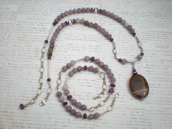 Royal beauty beaded necklace set, amethyst, lilac stone, purple agate, sterling silver, unique jewelry by Grey Girl Designs on Etsy