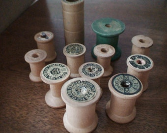 Thread Spools, Collection of 12,11 Wood and 1 Heavy Corrugate O.N.T. Includes Star, Lily, The Clark Thread Company, Large Green