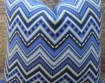 SALE Designer Pillow Cover - Lumbar, 16 x 16, 18 x 18, 20 x 20, 22 x 22 - Outdoor Chevron Blue
