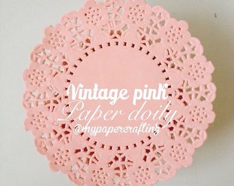 50 Vintage pink Colored paper doilies