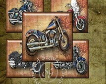 Harley Art - Digital Collage Sheets sg623 - 1.25 inch, 30mm Squares for Pendants, Jewelry Supplies, Arts & Crafts
