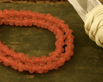 Pumpkin Triangle:  Geometric Recycled Ghana Glass Beads, Deep Orange / 8-9x5mm / Craft Supplies, Large Hole African Beads