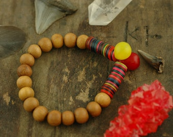 Global Girl: Vintage Vinyl Record Beads, African Wedding Beads, Sandalwood / Boho Bracelet / Neon Pop Summer Fashion, Stretch Stack Bracelet