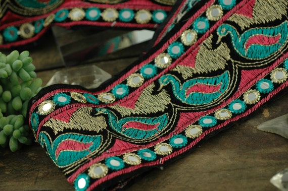 "LAST PIECE Pink & Turquoise Embroidered Ducks on Velvet Trim, Ribbon, Sari Border / 3 1/4"" x 1 Yard / Festive Regal Sewing, Craft Supply"