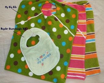 3 Pack! Big Bib! Custom Baby or Toddler Terrycloth Bib