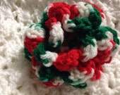 Crocheted Dog Cat Collar Flower or Costume Accessory Christmas Colors