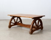 1940s Monterey style coffee table, wagon wheel table