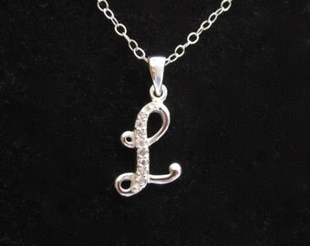 925 sterling silver cz letter initial l pendant charm with necklace chain personalized monogram necklace