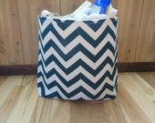 Medium Beach Bag/Gym tote/Pool tote-Blue and Natural Chevron