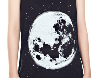 Full Moon Shirt Full Moon Tank Top Full Moon Galaxy Space Tank Women Shirt Tunic Top Vest Sleeveless Tank Top Size M,L,XL - IZJBT71