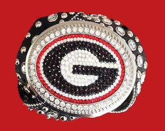 Georgia Bulldogs - Swarovski Crystal Buckle and Black Crystal Leather Belt