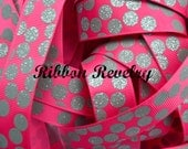 """Charcoal glitter silly dots printed on hot pink 7/8""""  grosgrain ribbon-High Quality"""