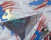 "Patriotic soldiers and foil on white 7/8"" grosgrain ribbon- 4th of july"